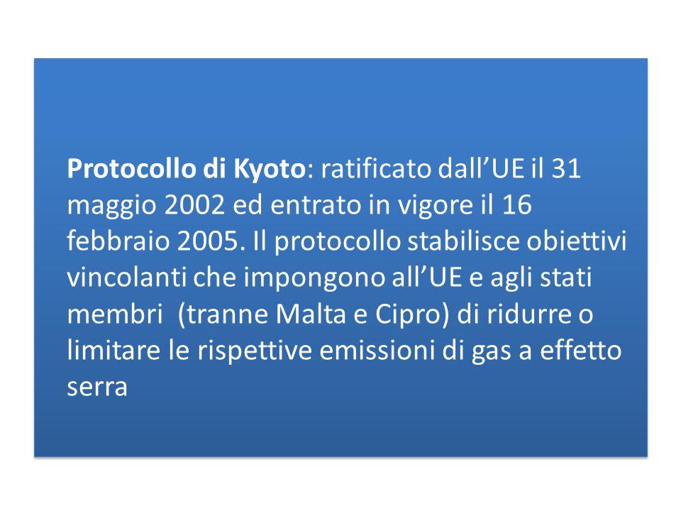 Protocollo di Kyoto: ratificato dall'UE il 31 maggio 2002 ed entrato in vigore il 16 febbraio 2005.