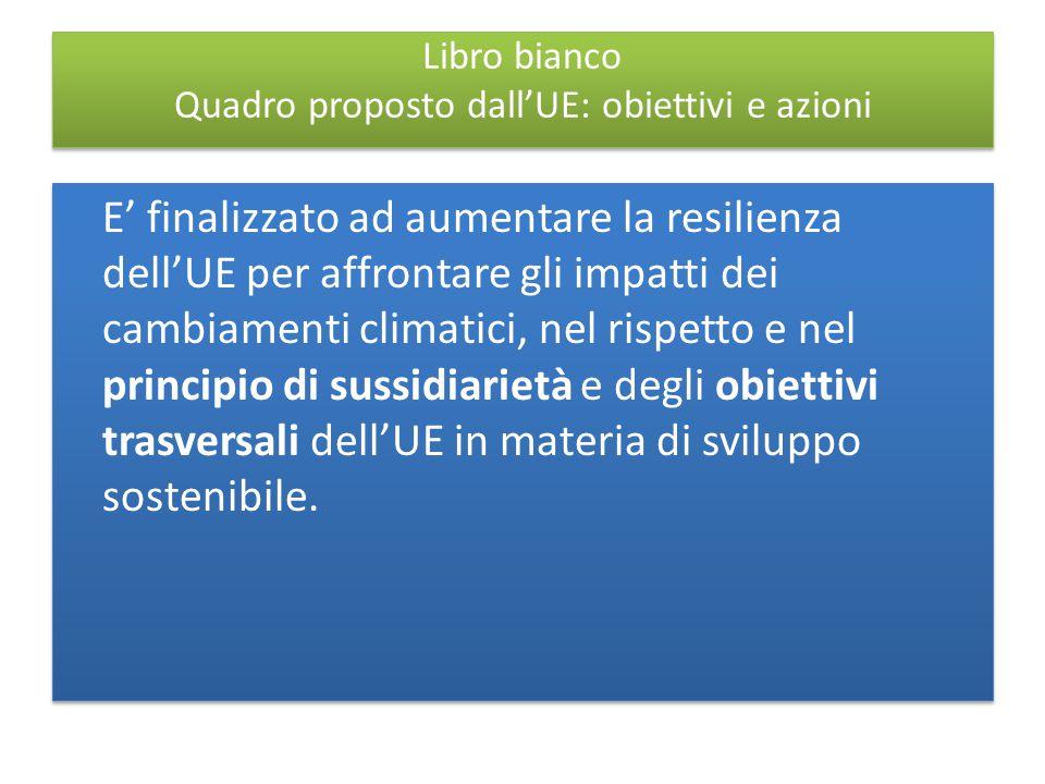 Libro bianco Quadro proposto dall'UE: obiettivi e azioni E' finalizzato ad aumentare la resilienza dell'UE per affrontare gli impatti dei cambiamenti climatici, nel rispetto e nel principio di sussidiarietà e degli obiettivi trasversali dell'UE in materia di sviluppo sostenibile.