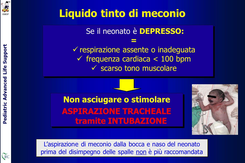 Pediatric Advanced Life Support Liquido tinto di meconio Se il neonato è DEPRESSO: = respirazione assente o inadeguata frequenza cardiaca < 100 bpm scarso tono muscolare Se il neonato è DEPRESSO: = respirazione assente o inadeguata frequenza cardiaca < 100 bpm scarso tono muscolare Non asciugare o stimolare ASPIRAZIONE TRACHEALE tramite INTUBAZIONE Non asciugare o stimolare ASPIRAZIONE TRACHEALE tramite INTUBAZIONE L'aspirazione di meconio dalla bocca e naso del neonato prima del disimpegno delle spalle non è più raccomandata
