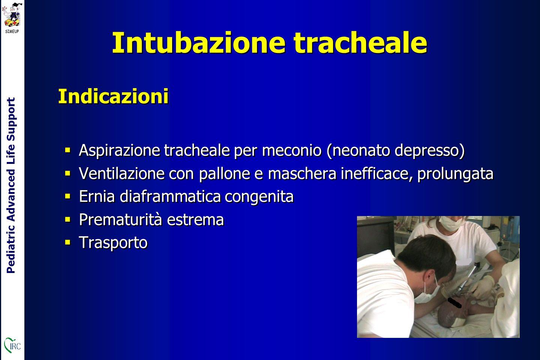 Pediatric Advanced Life Support rapporto 3:1 = 90 compressioni brusche e 30 ventilazioni al minuto C irculation Compressioni toraciche C irculation Compressioni toraciche INDICAZIONE: FC < 60 bpm dopo 30 secondi di ventilazione a pressione positiva efficace