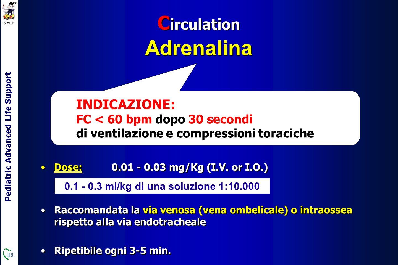 Pediatric Advanced Life Support C irculation Adrenalina C irculation Adrenalina INDICAZIONE: FC < 60 bpm dopo 30 secondi di ventilazione e compressioni toraciche Dose: 0.01 - 0.03 mg/Kg (I.V.