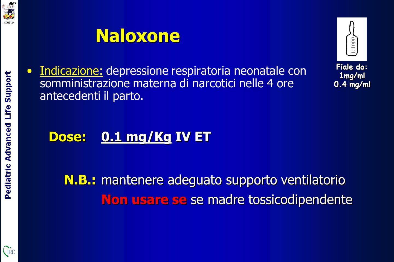 Pediatric Advanced Life Support Naloxone Indicazione: depressione respiratoria neonatale con somministrazione materna di narcotici nelle 4 ore antecedenti il parto.