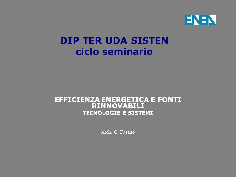 1 DIP TER UDA SISTEN ciclo seminario EFFICIENZA ENERGETICA E FONTI RINNOVABILI TECNOLOGIE E SISTEMI Arch. G. Fasano