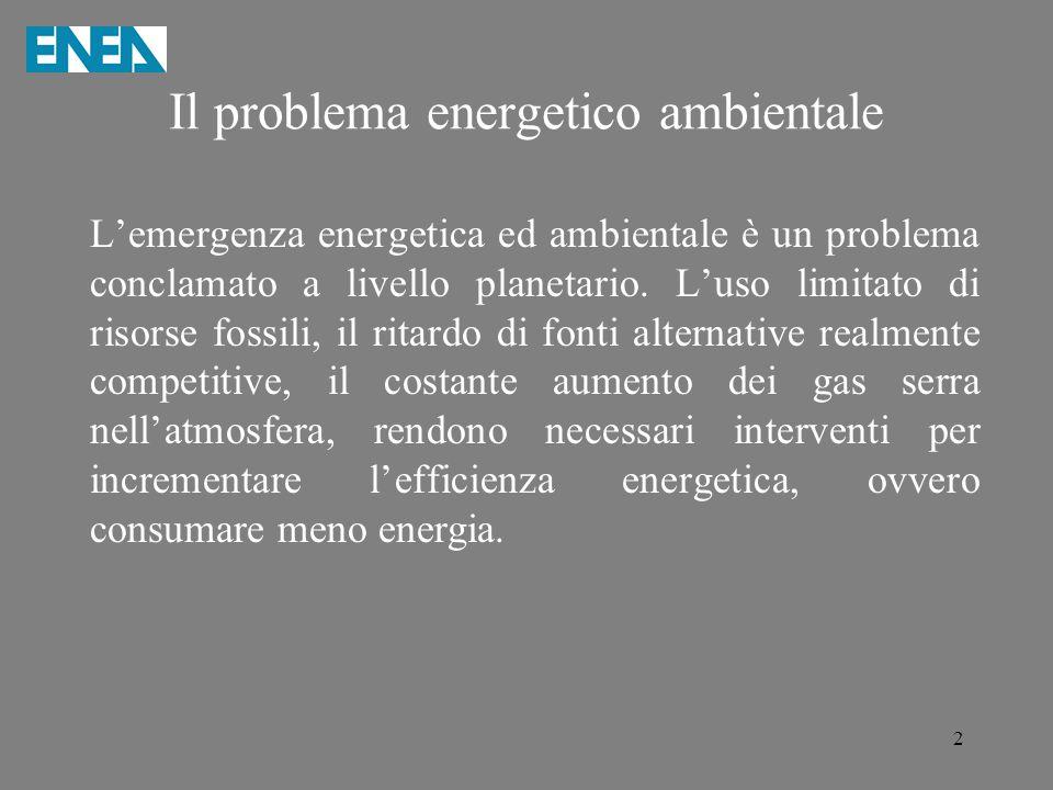 2 Il problema energetico ambientale L'emergenza energetica ed ambientale è un problema conclamato a livello planetario. L'uso limitato di risorse foss