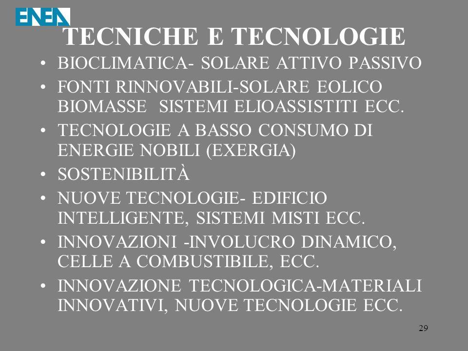 29 TECNICHE E TECNOLOGIE BIOCLIMATICA- SOLARE ATTIVO PASSIVO FONTI RINNOVABILI-SOLARE EOLICO BIOMASSE SISTEMI ELIOASSISTITI ECC. TECNOLOGIE A BASSO CO