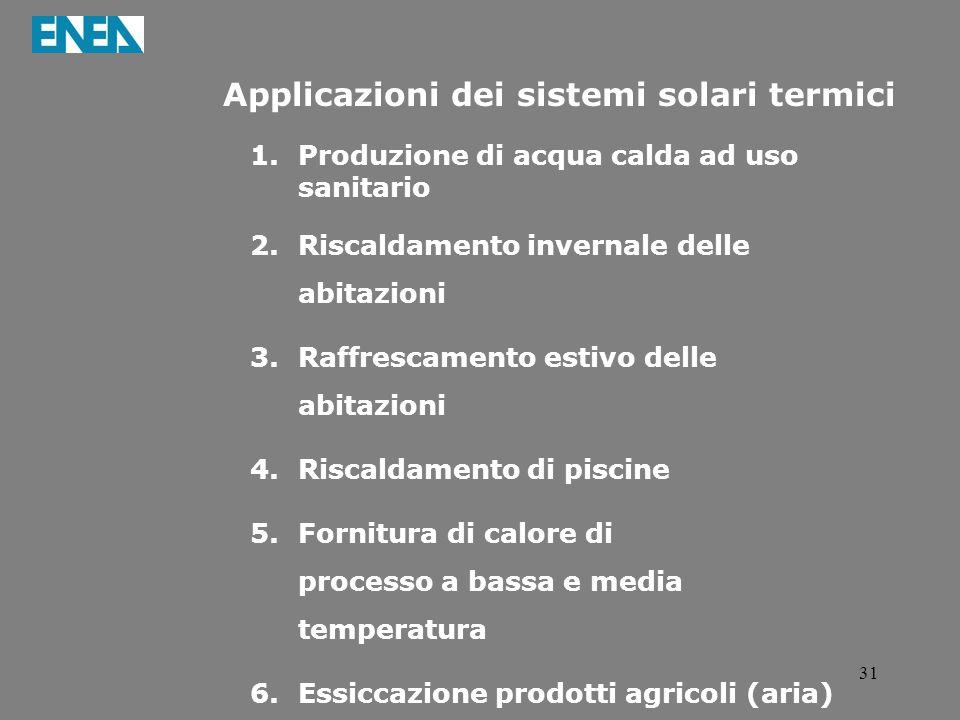 31 Applicazioni dei sistemi solari termici 1.Produzione di acqua calda ad uso sanitario 2.Riscaldamento invernale delle abitazioni 3.Raffrescamento es