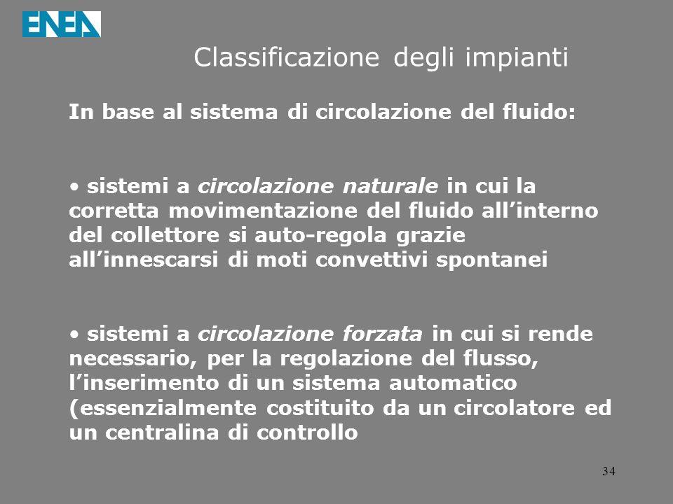34 Classificazione degli impianti In base al sistema di circolazione del fluido: sistemi a circolazione naturale in cui la corretta movimentazione del
