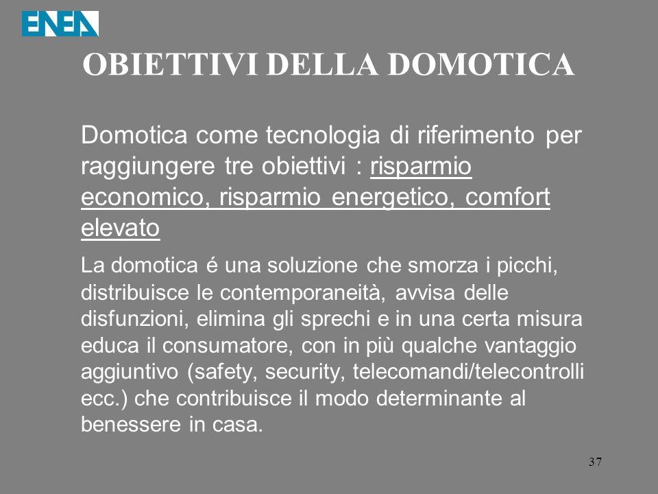37 OBIETTIVI DELLA DOMOTICA Domotica come tecnologia di riferimento per raggiungere tre obiettivi : risparmio economico, risparmio energetico, comfort
