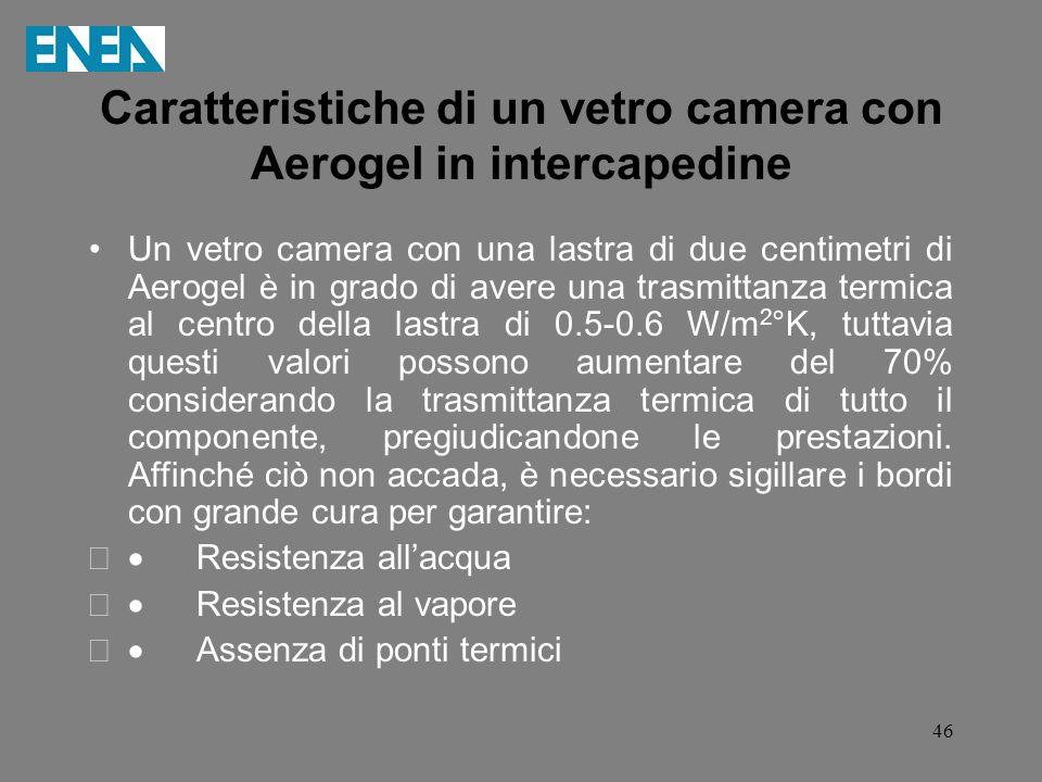 46 Caratteristiche di un vetro camera con Aerogel in intercapedine Un vetro camera con una lastra di due centimetri di Aerogel è in grado di avere una