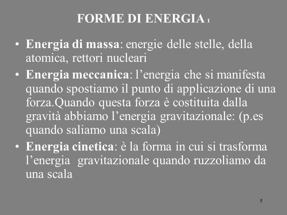5 FORME DI ENERGIA 1 Energia di massa: energie delle stelle, della atomica, rettori nucleari Energia meccanica: l'energia che si manifesta quando spos