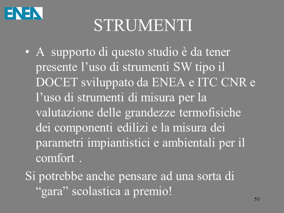 STRUMENTI A supporto di questo studio è da tener presente l'uso di strumenti SW tipo il DOCET sviluppato da ENEA e ITC CNR e l'uso di strumenti di mis