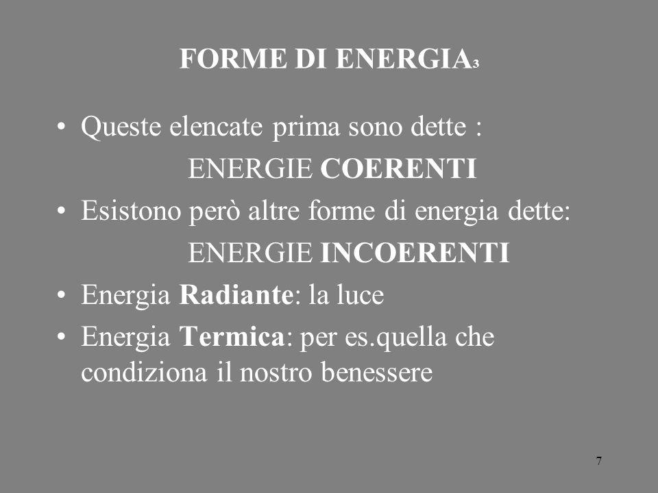 7 FORME DI ENERGIA 3 Queste elencate prima sono dette : ENERGIE COERENTI Esistono però altre forme di energia dette: ENERGIE INCOERENTI Energia Radian