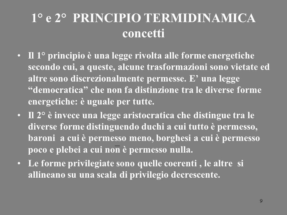 9 1° e 2° PRINCIPIO TERMIDINAMICA concetti Il 1° principio è una legge rivolta alle forme energetiche secondo cui, a queste, alcune trasformazioni son