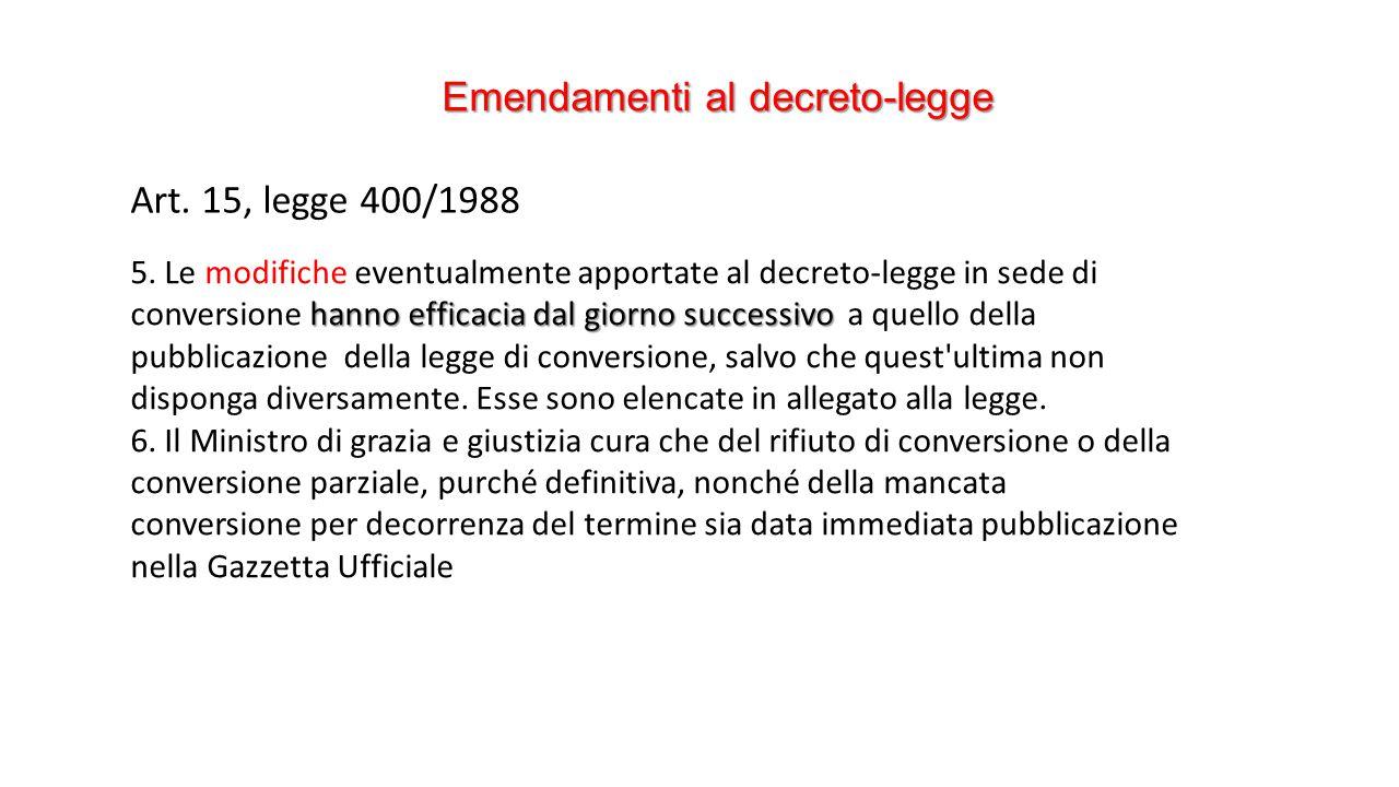 Emendamenti al decreto-legge Art. 15, legge 400/1988 hanno efficacia dal giorno successivo 5.