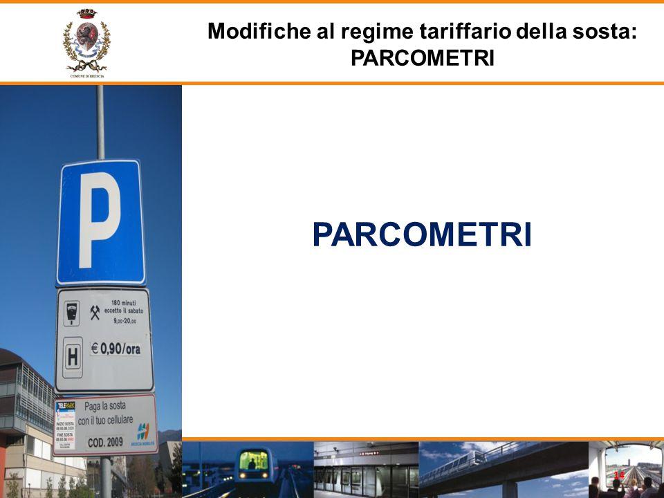 PARCOMETRI Modifiche al regime tariffario della sosta: PARCOMETRI 14