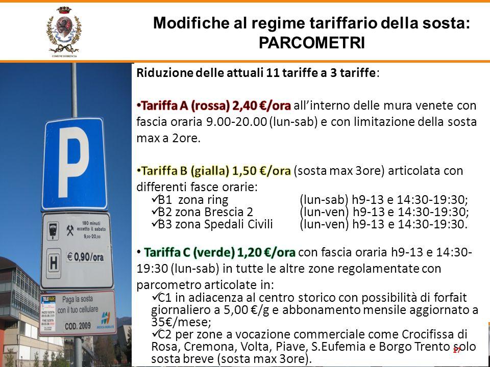 Modifiche al regime tariffario della sosta: PARCOMETRI 17