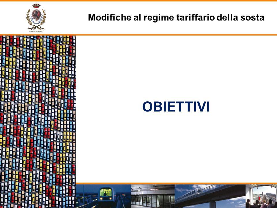 OBIETTIVI Modifiche al regime tariffario della sosta 3