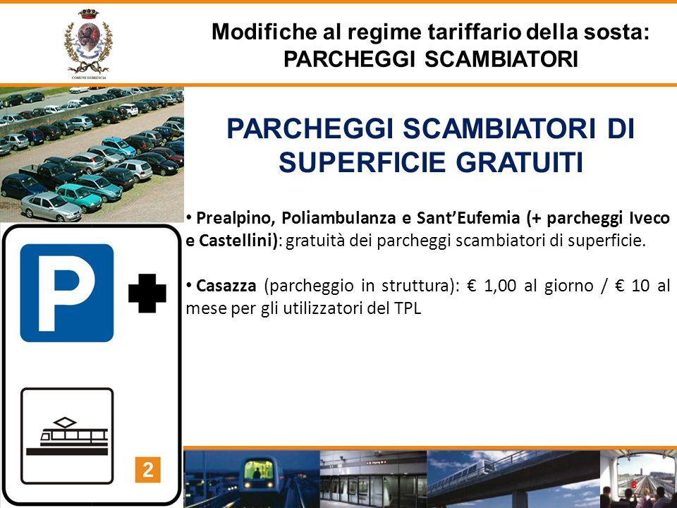 PARCHEGGI SCAMBIATORI DI SUPERFICIE GRATUITI Prealpino, Poliambulanza e Sant'Eufemia (+ parcheggi Iveco e Castellini): gratuità dei parcheggi scambiatori di superficie.