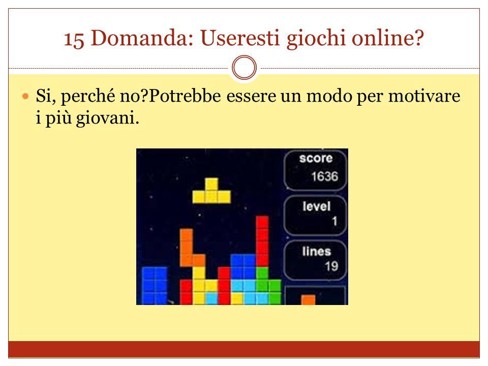 15 Domanda: Useresti giochi online.
