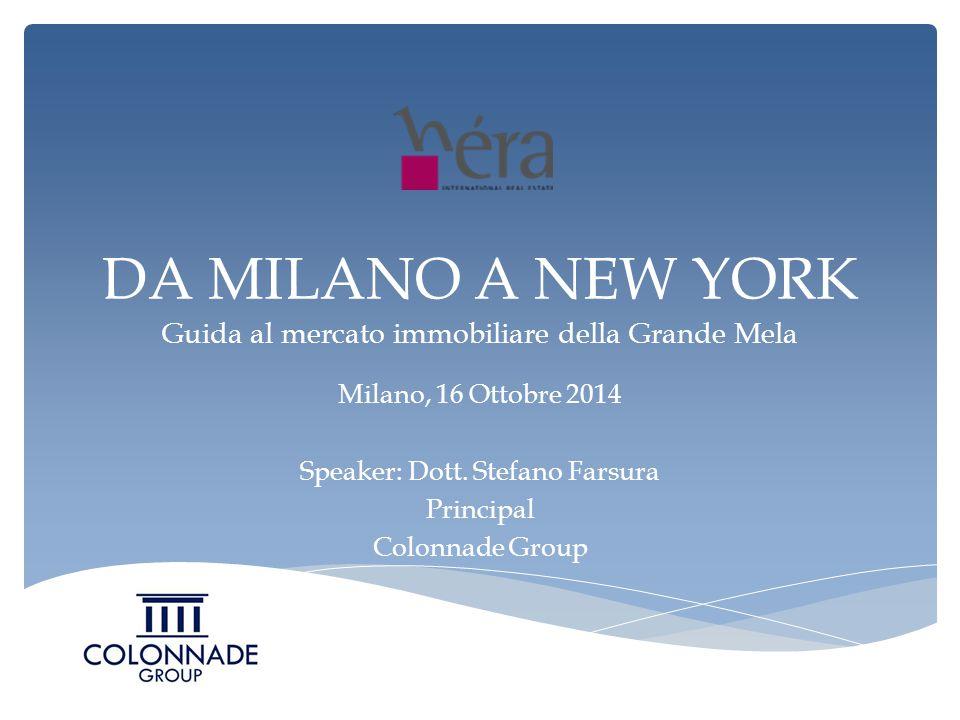 DA MILANO A NEW YORK Guida al mercato immobiliare della Grande Mela Milano, 16 Ottobre 2014 Speaker: Dott.
