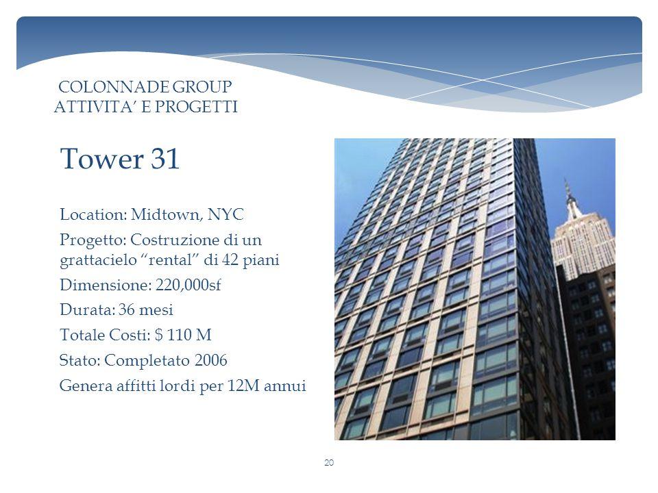 Location: Midtown, NYC Progetto: Costruzione di un grattacielo rental di 42 piani Dimensione: 220,000sf Durata: 36 mesi Totale Costi: $ 110 M Stato: Completato 2006 Genera affitti lordi per 12M annui Tower 31 COLONNADE GROUP ATTIVITA' E PROGETTI 20