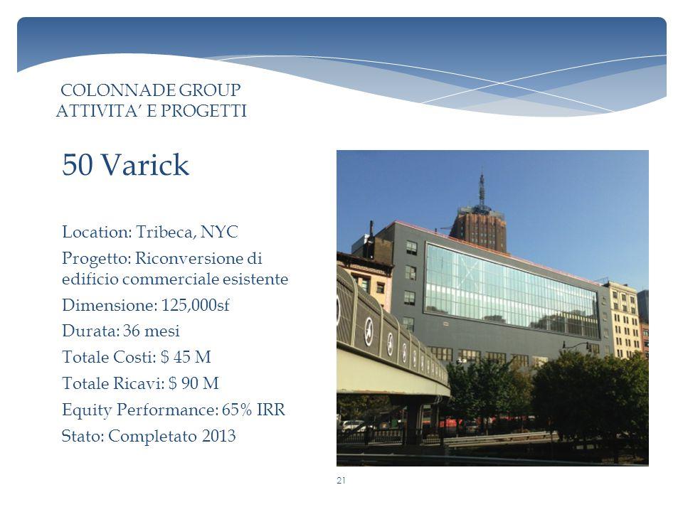 Location: Tribeca, NYC Progetto: Riconversione di edificio commerciale esistente Dimensione: 125,000sf Durata: 36 mesi Totale Costi: $ 45 M Totale Ricavi: $ 90 M Equity Performance: 65% IRR Stato: Completato 2013 50 Varick COLONNADE GROUP ATTIVITA' E PROGETTI 21