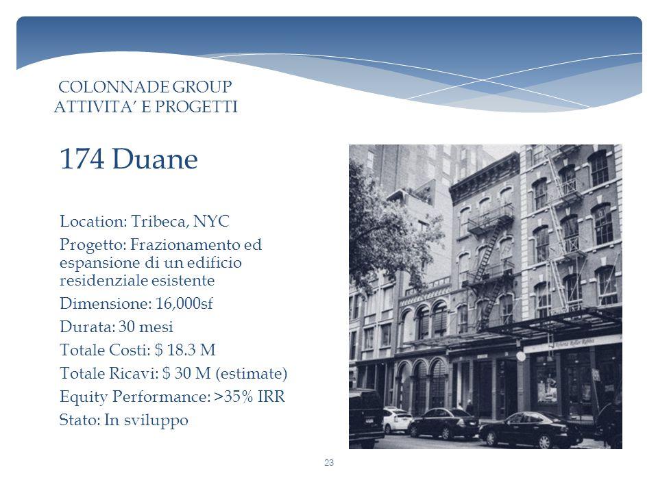 Location: Tribeca, NYC Progetto: Frazionamento ed espansione di un edificio residenziale esistente Dimensione: 16,000sf Durata: 30 mesi Totale Costi: $ 18.3 M Totale Ricavi: $ 30 M (estimate) Equity Performance: >35% IRR Stato: In sviluppo 174 Duane COLONNADE GROUP ATTIVITA' E PROGETTI 23