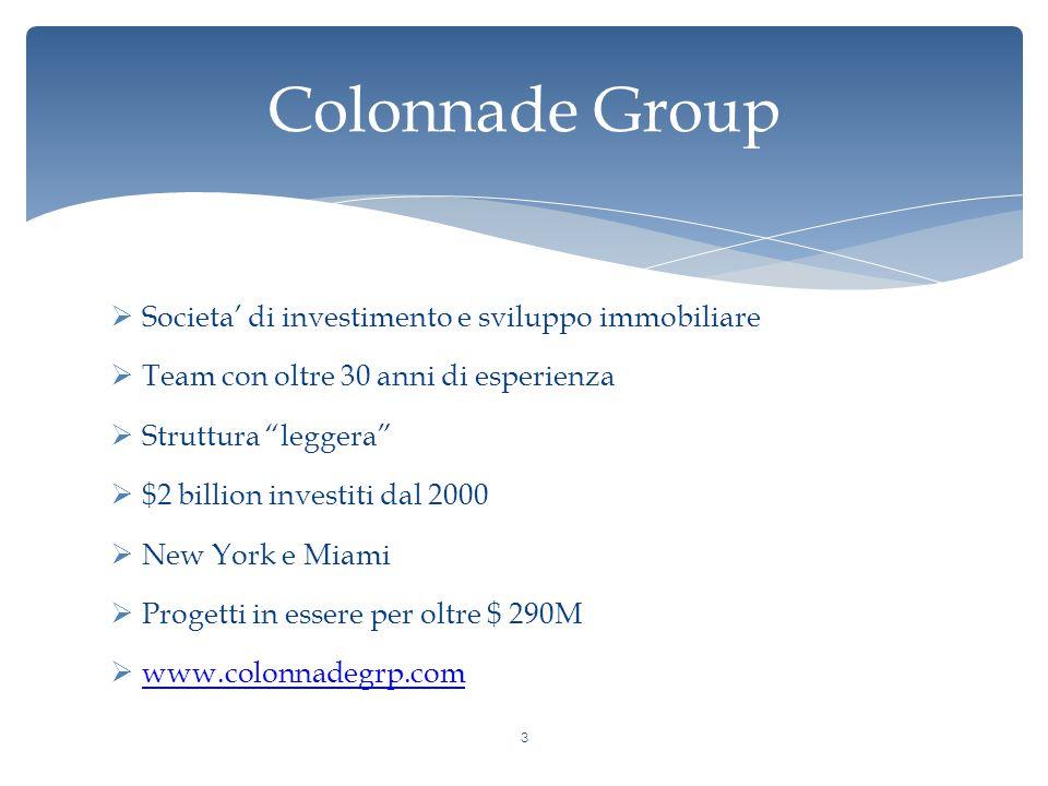 Colonnade Group  Societa' di investimento e sviluppo immobiliare  Team con oltre 30 anni di esperienza  Struttura leggera  $2 billion investiti dal 2000  New York e Miami  Progetti in essere per oltre $ 290M  www.colonnadegrp.com www.colonnadegrp.com 3