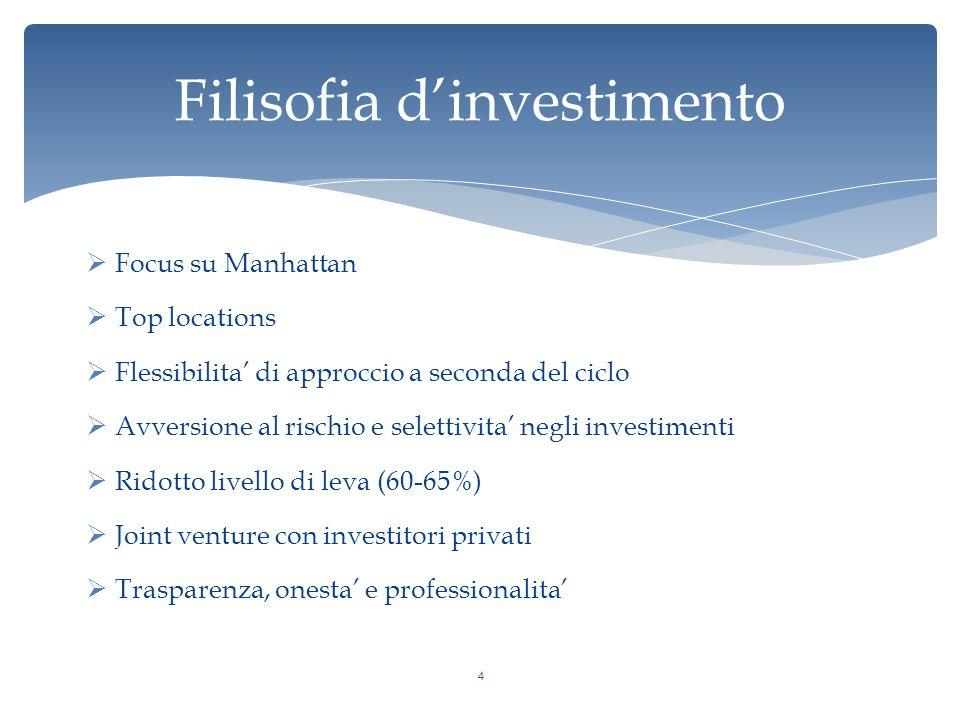 Filisofia d'investimento  Focus su Manhattan  Top locations  Flessibilita' di approccio a seconda del ciclo  Avversione al rischio e selettivita' negli investimenti  Ridotto livello di leva (60-65%)  Joint venture con investitori privati  Trasparenza, onesta' e professionalita' 4