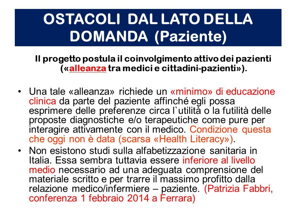 OSTACOLI DAL LATO DELLA DOMANDA (Paziente) Il progetto postula il coinvolgimento attivo dei pazienti («alleanza tra medici e cittadini-pazienti»).