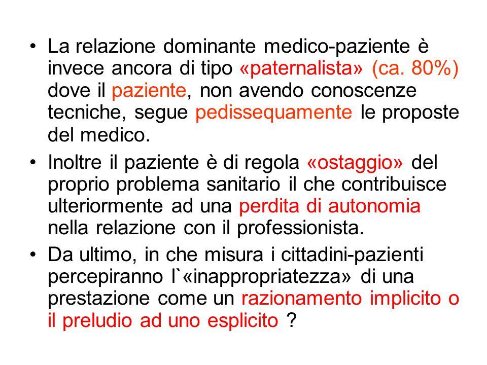 La relazione dominante medico-paziente è invece ancora di tipo «paternalista» (ca.