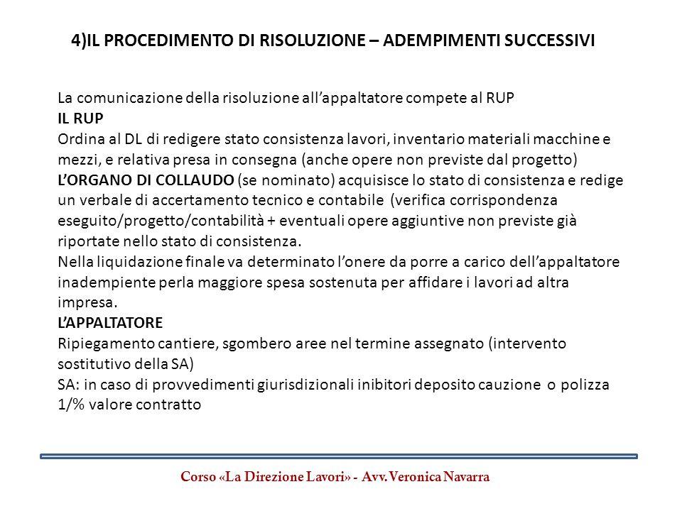 Corso «La Direzione Lavori» - Avv.Veronica Navarra La comunicazione della risoluzione all'appaltatore compete al RUP IL RUP Ordina al DL di redigere s