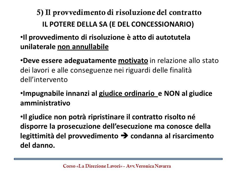 5) Il provvedimento di risoluzione del contratto Corso «La Direzione Lavori» - Avv.Veronica Navarra IL POTERE DELLA SA (E DEL CONCESSIONARIO) Il provv