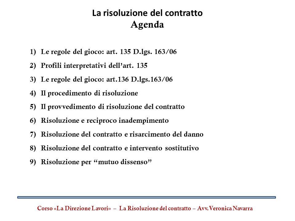 La risoluzione del contratto Agenda 1)Le regole del gioco: art. 135 D.lgs. 163/06 2)Profili interpretativi dell'art. 135 3)Le regole del gioco: art.13