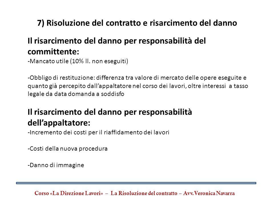 7) Risoluzione del contratto e risarcimento del danno Corso «La Direzione Lavori» – La Risoluzione del contratto – Avv.Veronica Navarra Il risarciment