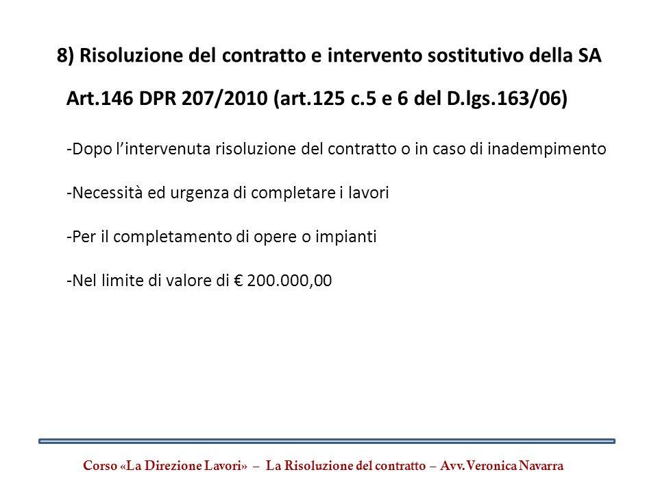 8) Risoluzione del contratto e intervento sostitutivo della SA Corso «La Direzione Lavori» – La Risoluzione del contratto – Avv.Veronica Navarra Art.1