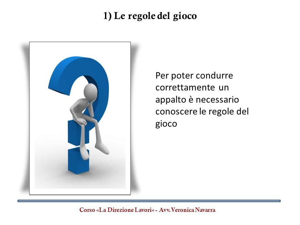 1) Le regole del gioco Corso «La Direzione Lavori» - Avv.Veronica Navarra Per poter condurre correttamente un appalto è necessario conoscere le regole