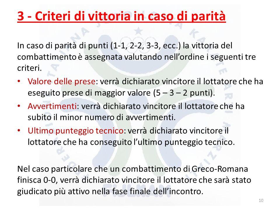3 - Criteri di vittoria in caso di parità In caso di parità di punti (1-1, 2-2, 3-3, ecc.) la vittoria del combattimento è assegnata valutando nell'ordine i seguenti tre criteri.