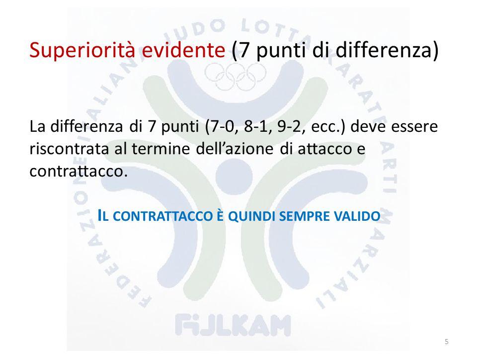 Superiorità evidente (7 punti di differenza) La differenza di 7 punti (7-0, 8-1, 9-2, ecc.) deve essere riscontrata al termine dell'azione di attacco e contrattacco.