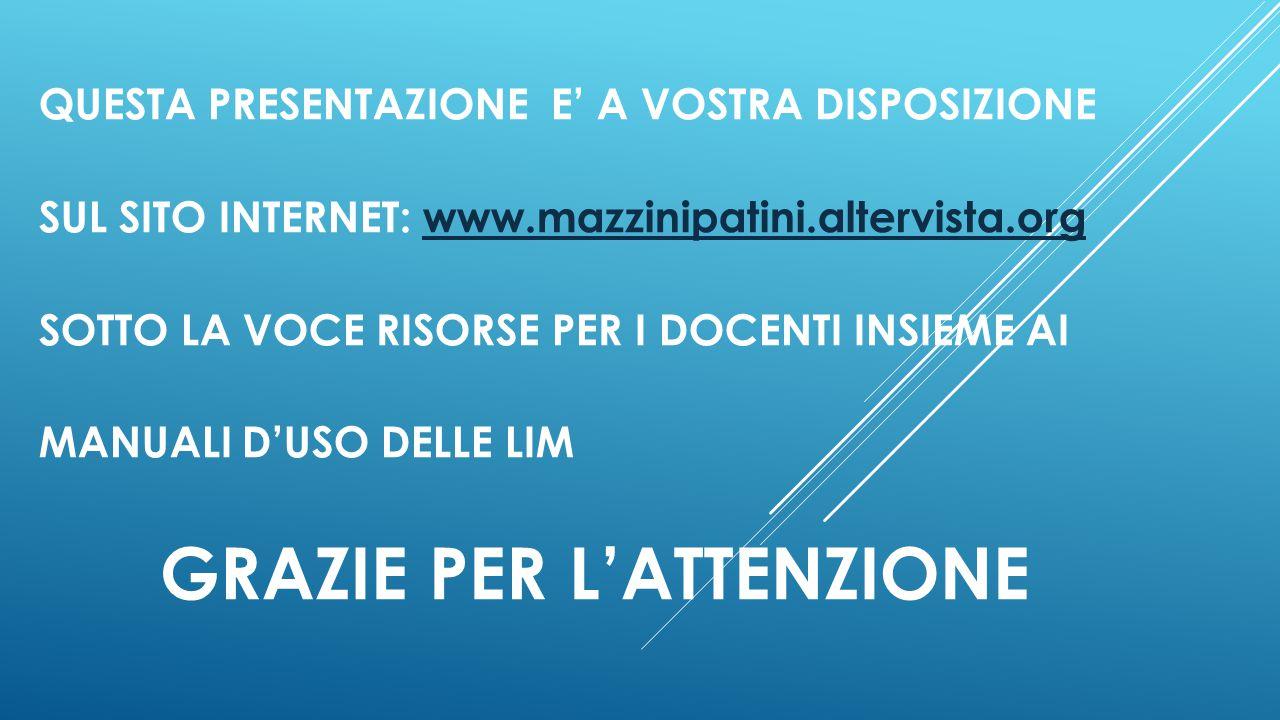 QUESTA PRESENTAZIONE E' A VOSTRA DISPOSIZIONE SUL SITO INTERNET: www.mazzinipatini.altervista.orgwww.mazzinipatini.altervista.org SOTTO LA VOCE RISORS