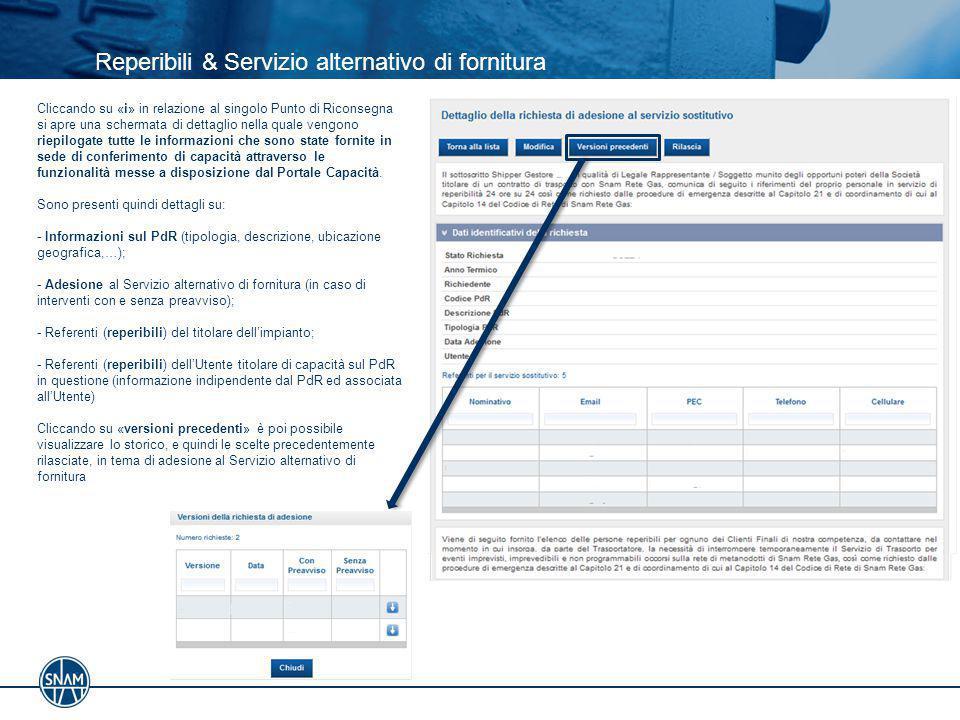 Reperibili & Servizio alternativo di fornitura Cliccando su «i» in relazione al singolo Punto di Riconsegna si apre una schermata di dettaglio nella q