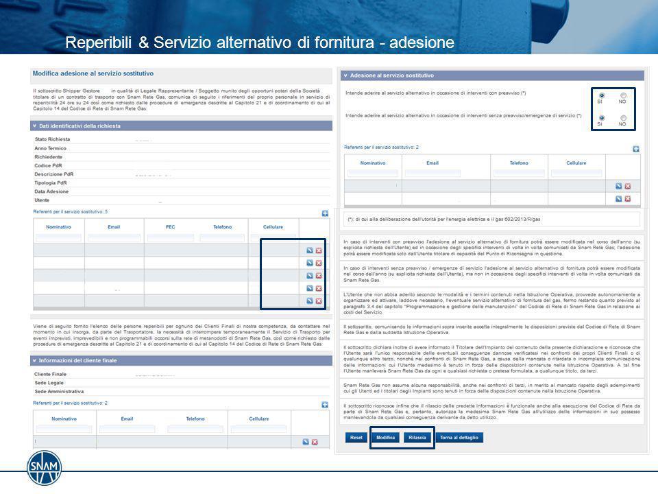 Reperibili & Servizio alternativo di fornitura - adesione