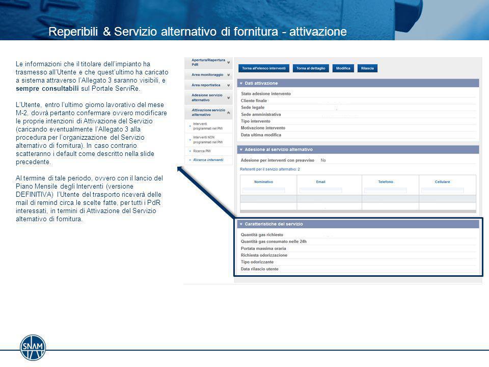 Reperibili & Servizio alternativo di fornitura - attivazione Le informazioni che il titolare dell'impianto ha trasmesso all'Utente e che quest'ultimo