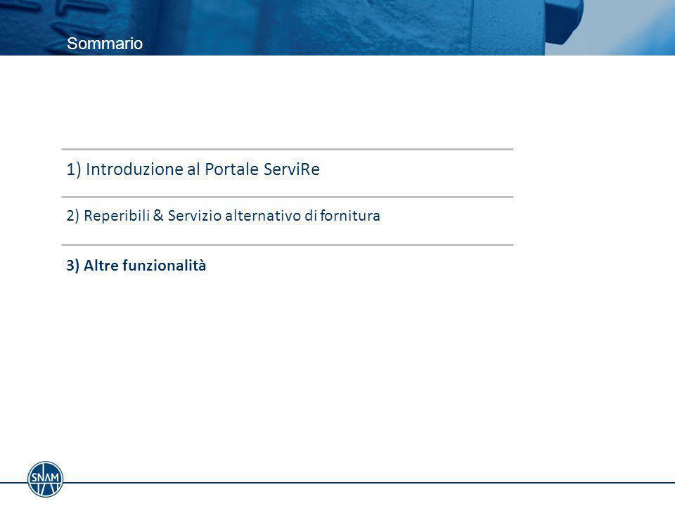 Sommario 3) Altre funzionalità 2) Reperibili & Servizio alternativo di fornitura 1) Introduzione al Portale ServiRe