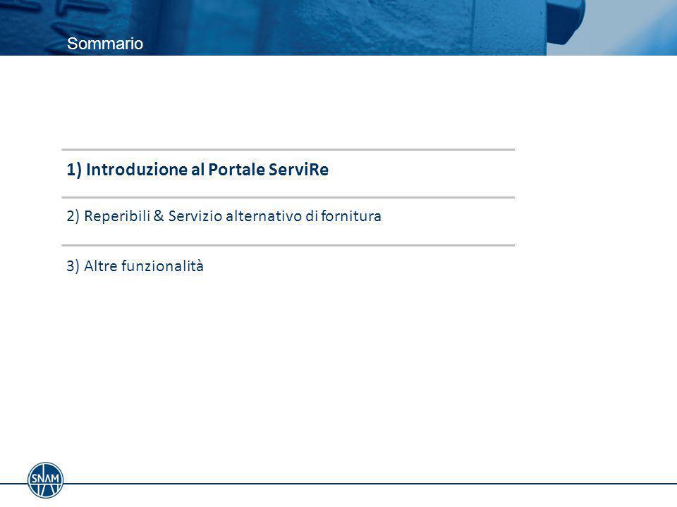 Introduzione al Portale ServiRe Il portale ServiRe è lo strumento dedicato all'esteso ambito dei Servizi Regolati forniti da Snam Rete Gas in recepimento delle disposizioni previste dal quadro normativo vigente (deliberazione AEEGSI 602/2013/R/gas, Codice di Rete di Snam Rete Gas, Procedura operativa per l'organizzazione del Servizio alternativo di fornitura gas).