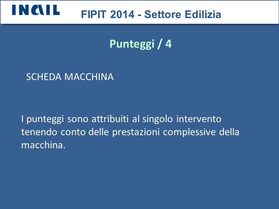 SCHEDA MACCHINA FIPIT 2014 - Settore Edilizia Punteggi / 4 I punteggi sono attribuiti al singolo intervento tenendo conto delle prestazioni complessive della macchina.