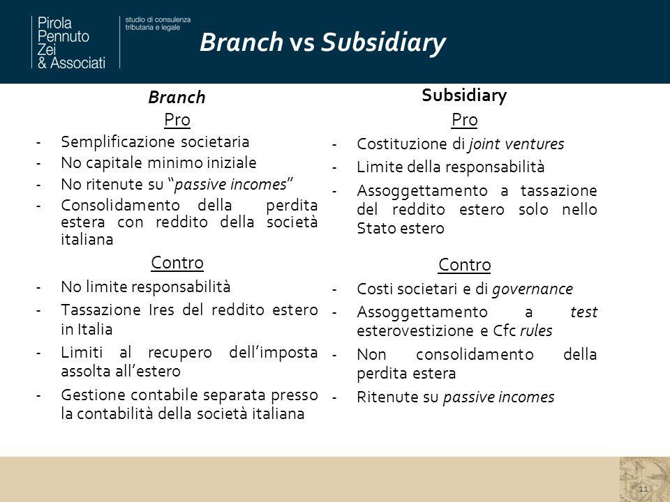 """Branch vs Subsidiary 11 Branch Pro -Semplificazione societaria -No capitale minimo iniziale -No ritenute su """"passive incomes"""" -Consolidamento della pe"""