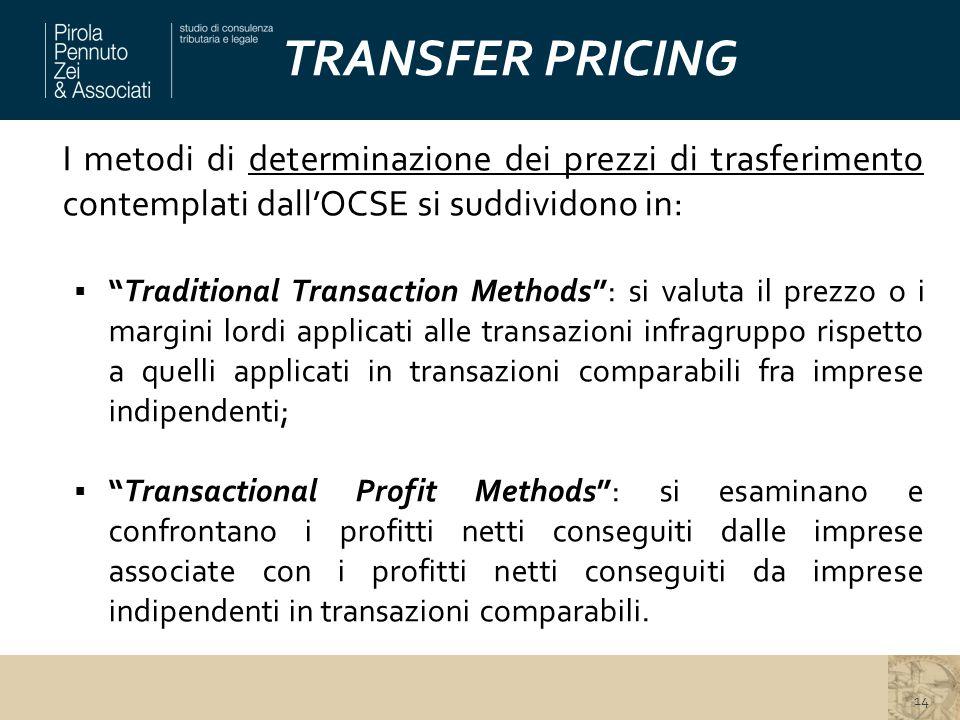 """TRANSFER PRICING I metodi di determinazione dei prezzi di trasferimento contemplati dall'OCSE si suddividono in:  """"Traditional Transaction Methods"""":"""