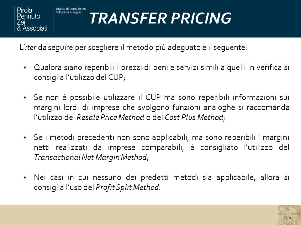 TRANSFER PRICING L'iter da seguire per scegliere il metodo più adeguato è il seguente:  Qualora siano reperibili i prezzi di beni e servizi simili a