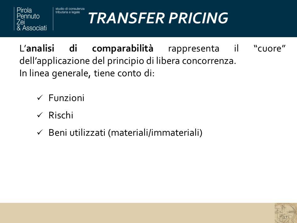 """TRANSFER PRICING L'analisi di comparabilità rappresenta il """"cuore"""" dell'applicazione del principio di libera concorrenza. In linea generale, tiene con"""